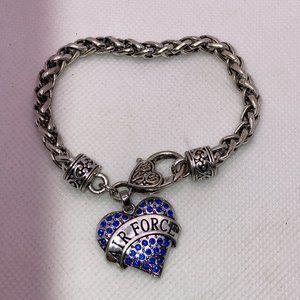 "Charm Bracelet 'Air Force' Silver Bracelet 7"""